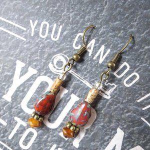 Czech Glass & Picture Jasper Bronze Earrings